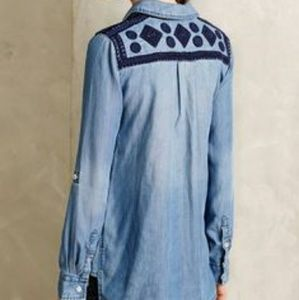 Anthropologie Dakota Embroidered Denim Shirt